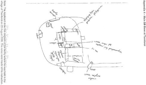 Нарисованная У.Исраиловым схема помещений в с. Центорой, в которых он тайно удерживался в августе 2006 г.  Схема приложена к иску Исраилова в ЕСПЧ.