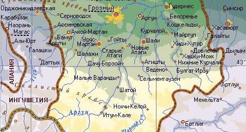 Расположение населённых пунктов вдоль границы Чеченской и Ингушской республик Фото: http://rfmaps.ru/chechenskaja-respublika/