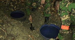 Обнаружение летних стоянок боевиков и замаскированных схронов с боеприпасами. Фото: http://nac.gov.ru/nakmessage/2014/08/29/v-respublike-ingushetiya-obnaruzheny-letnie-stoyanki-boevikov-i-skhron-boeprip.html