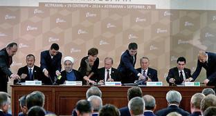Церемония подписания совместных документов по итогам работы IV Каспийского саммита. Фото пресс-службы Президента России, http://www.kremlin.ru/news/46686