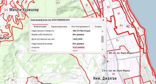 Земельный участок, из-за распределения которого в отношении Курбанова возбуждено уголовное дело. Кадр из публичной кадастровой карты http://maps.rosreestr.ru/PortalOnline/