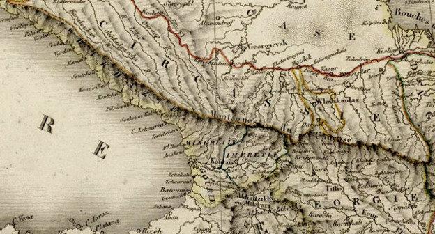 Карта Кавказа. 1824. Vivien de Saint-Martin, Louis, (1802-1897). Фото https://ru.wikipedia.org