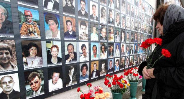 Стена с фотографиями погибших в Театральном центре на Дубровке. Москва, 23 октября 2014 г. Фото: Ivan Trefilov (RFE/RL)