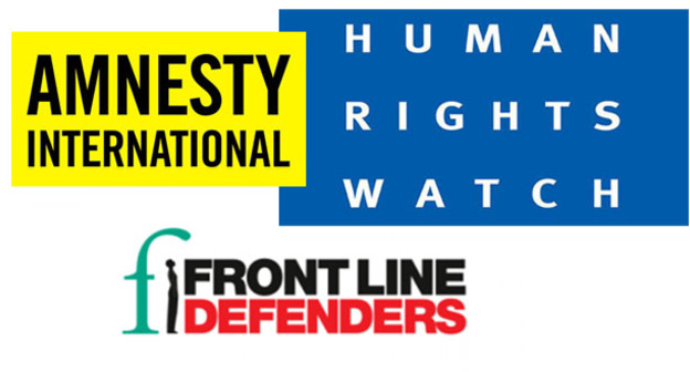 """Логотип международных правозащитных организаций Human Rights Watch, Amnesty International и Front Line Defenders. Коллаж """"Кавказского узла"""""""