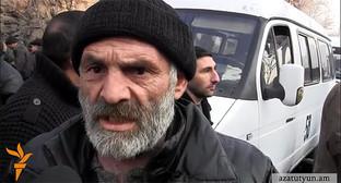 Участник забастовки. Фото: Стоп-кадр видео Радио Азатутюн, http://rus.azatutyun.am/content/article/26750893.html