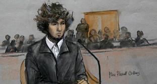 Рисунок Джохар Царнаев в зале суда. Фото: http://www.bbc.co.uk/russian/international/2015/01/150104_us_tsarnayev_trial