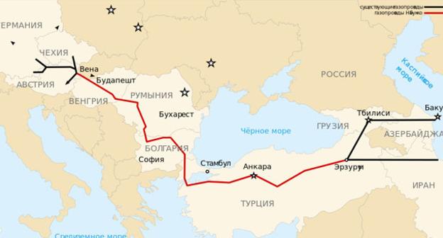 Схема маршрута газопровода Nabucco. Фото: Nabucco_Gas_Pipeline-fr.svg: Sémhur - Nabucco_Gas_Pipeline-fr.svg https://ru.wikipedia.org