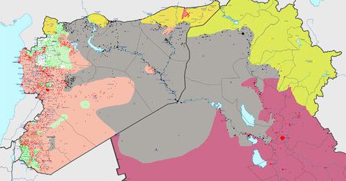 Территория, контролируемая «Исламским государством» (серый цвет), по состоянию на 23 февраля 2015 года. Фото: Haghal Jagul https://ru.wikipedia.org