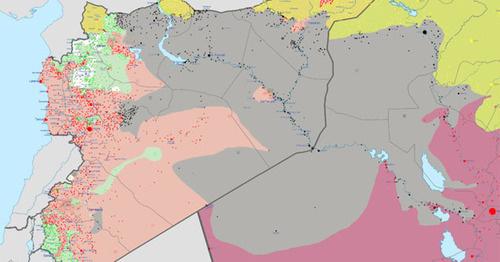 Серым веделена территория контролируемая Исламским государством. Фото: Haghal Jagul https://ru.wikipedia.org/