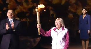 Ильхам Алиев на церемонии зажжение факела Евроигр. Фото: стоп-кадр видео http://novosti.az/sport/20150427/302126789.html