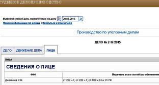 Ошибка в фамилии в сведение о лице из судебного производства Краснодарского краевого суда. Фото http://kraevoi.krd.sudrf.ru/