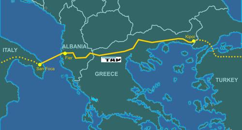 Схема маршрута газопровода TAP