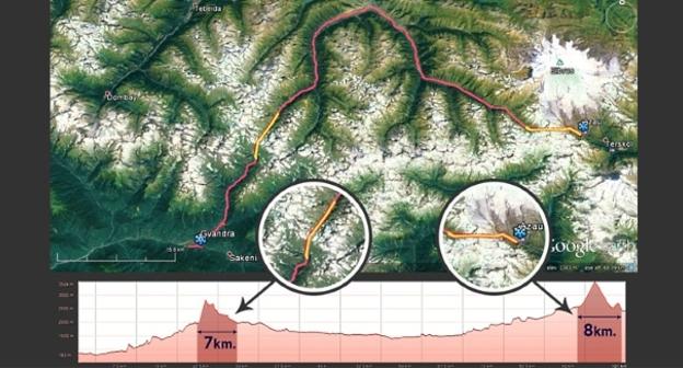 Маршрут горной части дороги между СКФО и Абхазией. Схема предоставлена Владимиром Фалилеевым