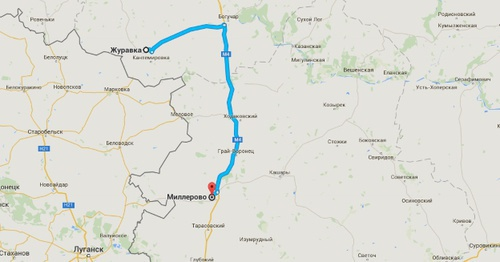 Маршрут от Журавки до Миллерово в обход Украины. Фото: Google Maps