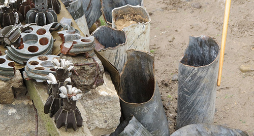 """Остатки снарядов, выпущенных по карабахским позициям из гранатометов и минометов. Фото Алвард Григорян для """"Кавказского узла"""""""