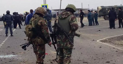 Взрыв на посту ДПС в Дербентском районе Дагестана. 14 февраля 2016 г. Фото http://www.riadagestan.ru/