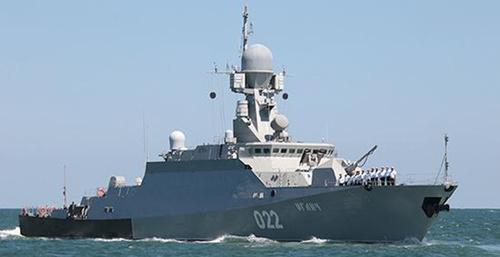 Малый ракетный корабль «Углич» в Каспийское море. Фото: http://www.korabli.eu/blogs/novosti/morskie-novosti/zavershilos-sovmestnoe-uchenie