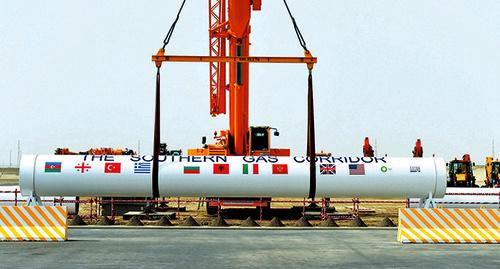 "Монтаж ветки газопровода ""Южный поток"".  Фото: http://azertag.az/ru/xeber/899833"