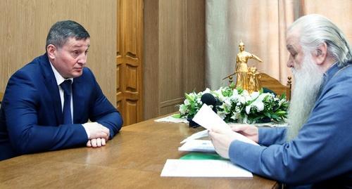 Андрей Бочаров на встрече митрополитом волгоградским и камышинским Германом. Фото: Volganet.ru