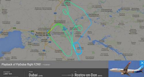 Маршрут движения самолета Boeing-738 перед падением. Фото: Twitter.com/flightradar24