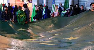 """Черексский флаг на акции черкесов в Турции. Фото Магомеда Туаева для """"Кавказского узла"""""""