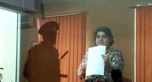Хадиджа Исмайлова в зале суда. Фото: Fergana Novruzova (RFE/RL)