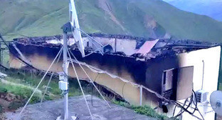 Взорванная ретрансляционная вышка в Шамильском районе Дагестана. 25 мая 2016 г. Фото http://www.riadagestan.ru/