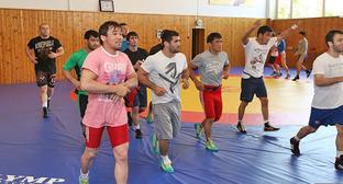 Спортсмены сборной Дагестана по вольной борьбе во время тренировки. Фото http://www.riadagestan.ru/