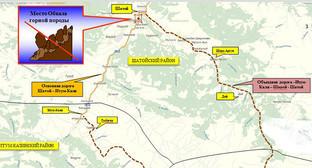 Схема объездной дороги обвала горных пород по состоянию на 23.06.2016. Фото: http://www.grozny-inform.ru/news/society/74098/